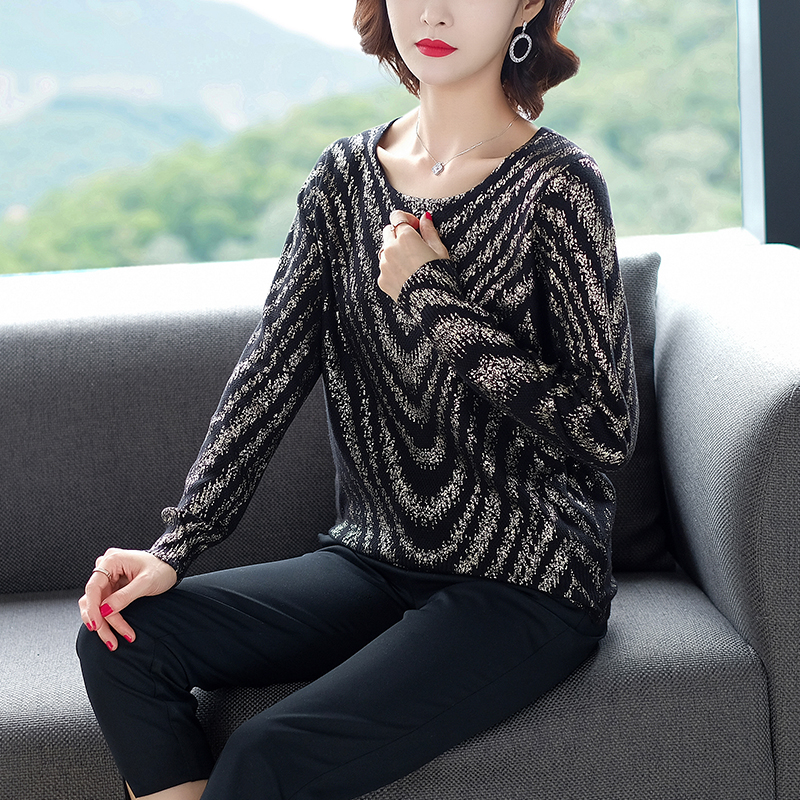YISU Women Striped print sweater 2019 Autumn Winter New Knitted Pullover Long Sleeve O-neck Casual jumper Loose Sweater Women 28