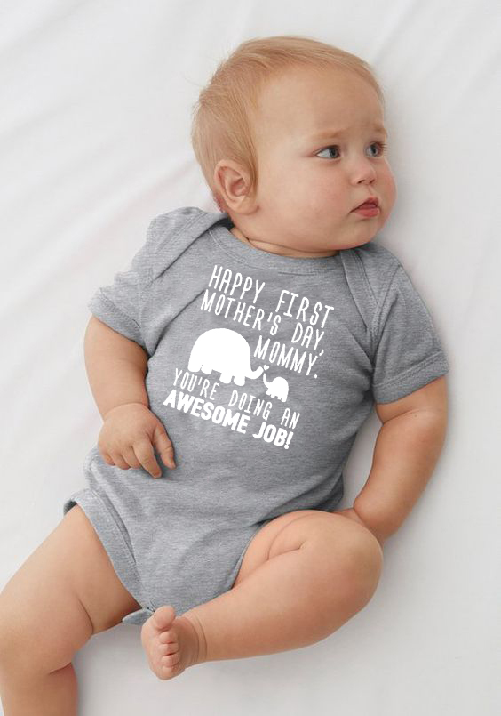 Personalized Gifts Happy First Mothers Day Elephant Bodysuit 1st Mother's Day Gift Baby Boy Girl Outfit 3M-24M