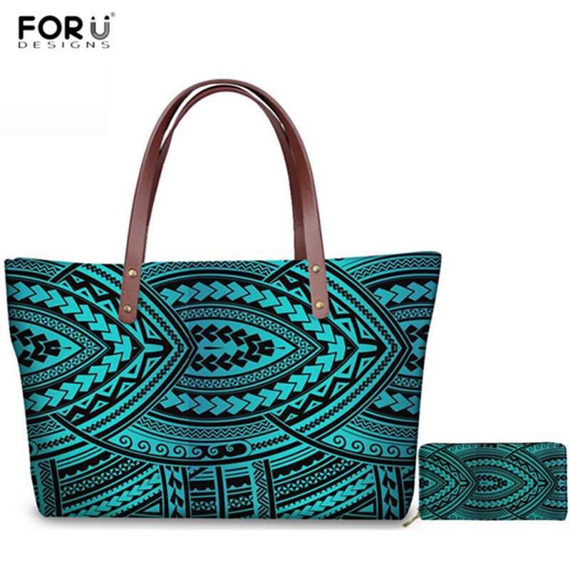 FORUDESIGNS Fashion Women 2pcs/Set Handbags Luxury Polynesian Traditional Tribal Style Tote Bags For Female Long Leather Wallets