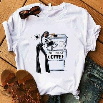 kawaii Coffee T Shirt Lady Luxury Make Up T-Shirt Women Summer Casual Short Tops Girl Hipster t shirt t shirt girl t shirt girl korean t shirt girl sports t shirt summer new t shirt ladies t shirt mom daughter parent child t shirt