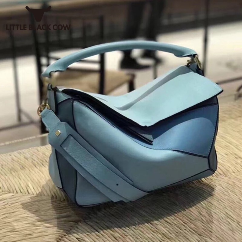 Women Bag Brand Panelled Design Real Cow Leather Soft Geometric Handbag For Woman Shoulder Bags With Long Strap Sac Bolsas Tote