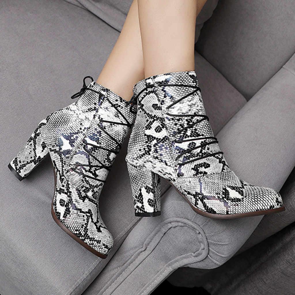 Kış kadın ayakkabı moda yılan tahıl yuvarlak ayak fermuar çapraz askılı botlar kare kök topuklu Vintage kadın çizmeler botas mujer