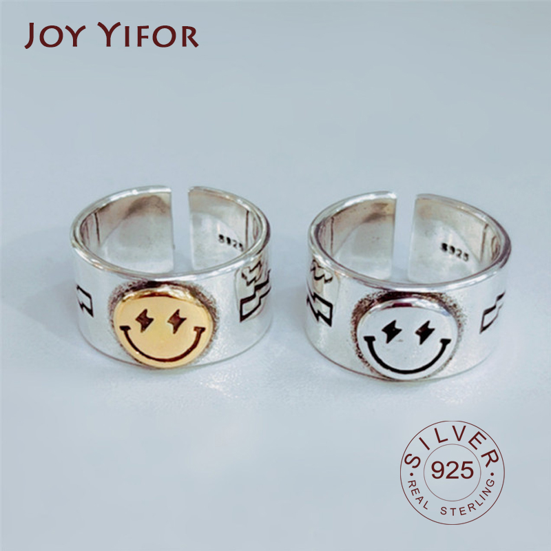 Hot Sale Happy Smiley Face Lightning Stamp Tibetan Ring Big Large Retro Vintage Golden Gothic Women Jewelry Rings 1