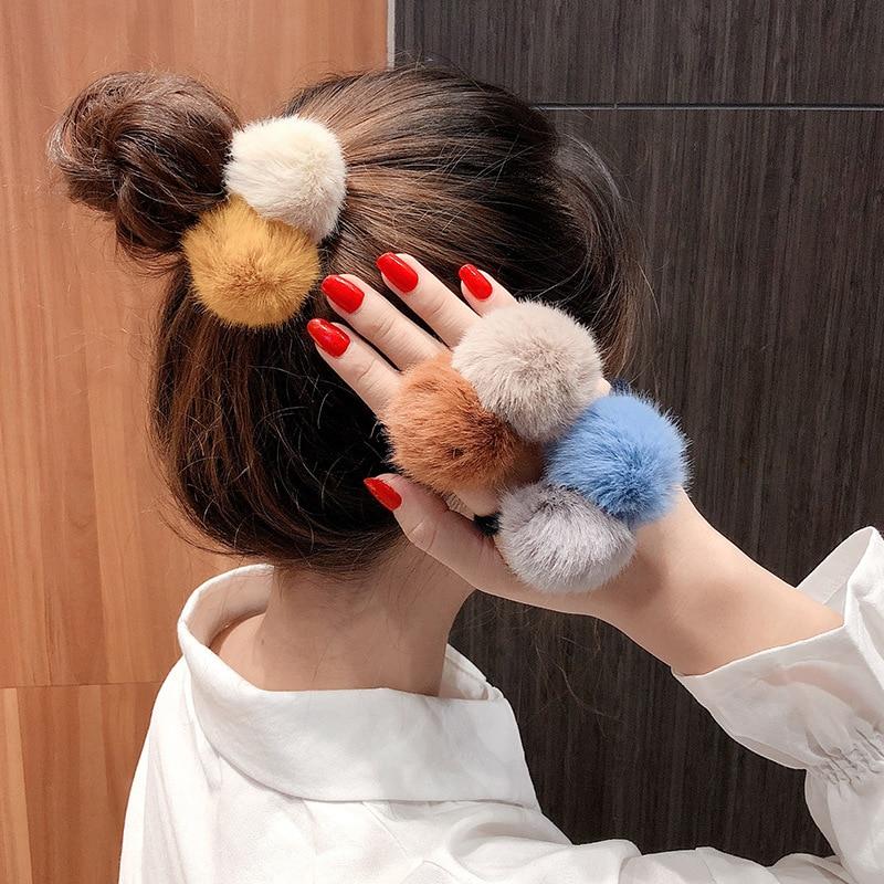 Bolas de Pelúcia Lote Faça Você Mesmo Simples Multi Dupla Fuzzy Borracha Banda Elasticidade Meninas Bandas Cabelo Ferramenta Estilo Acessório Ha1682 100 Pçs –