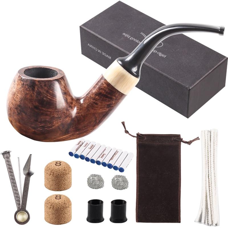 Новинка набор для курения 9 мм фильтр табачная трубка Carven курительная трубка резная деревянная трубка Briar большой отправка 8 инструментов ...