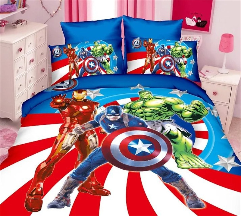Cartoon 3D Captain America Bedding Sets Boy/Girls Avengers Character Sheet, Pillowcase & Duvet Cover Sets Single Twin Full Size
