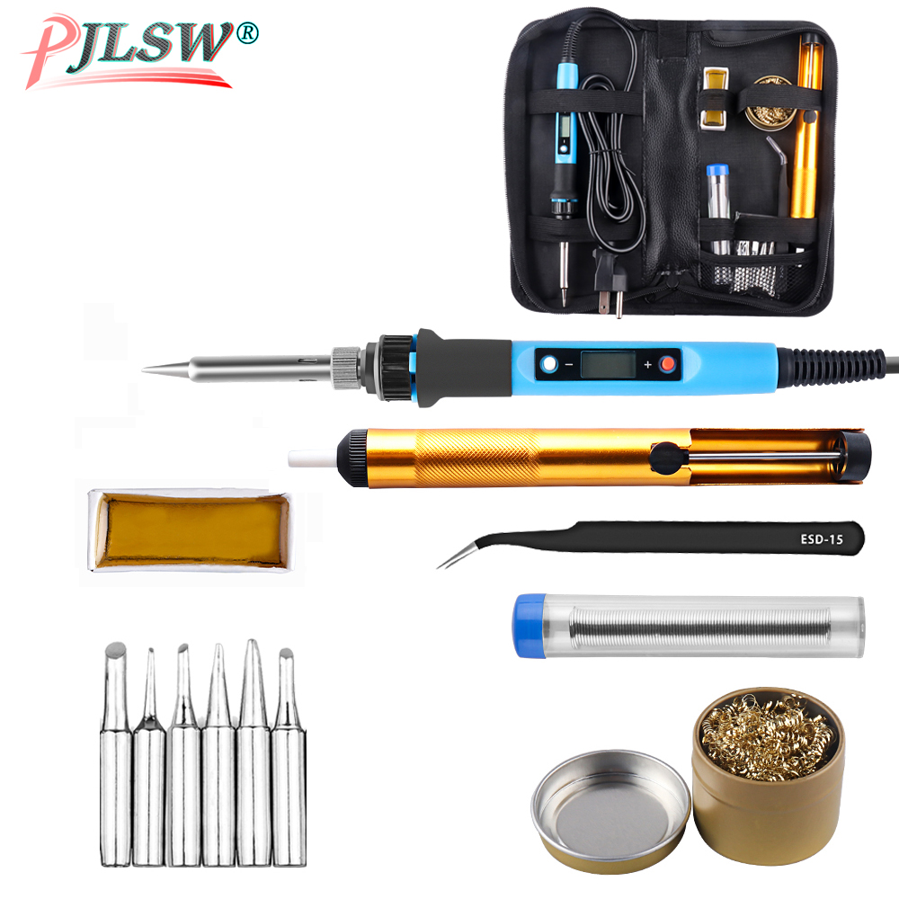 80W US EU Digital Display Soldering Iron 110V/220V 180-480 Celsius Thermostatic Digital-Controlled Soldering Iron Kit Toolkit