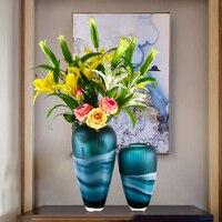 vase decoration European light luxury Glass Vase ornament living room flower arrangement TV cabinet creative soft decoration