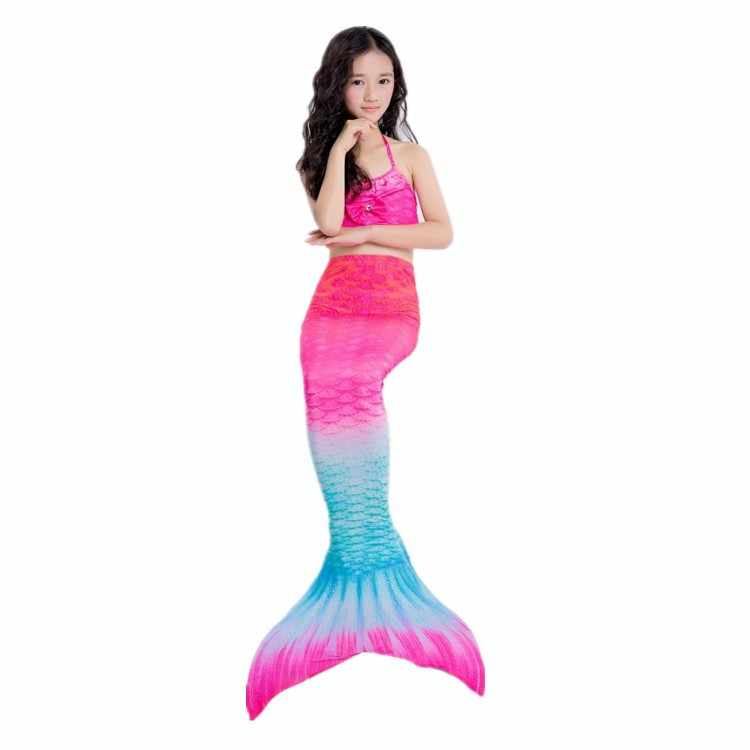 3pcs/Children Mermaid Tails For Swimming The Little Mermaid Girls Swimsuit Party Cosplay Costumes Can Installed Swimming Fins