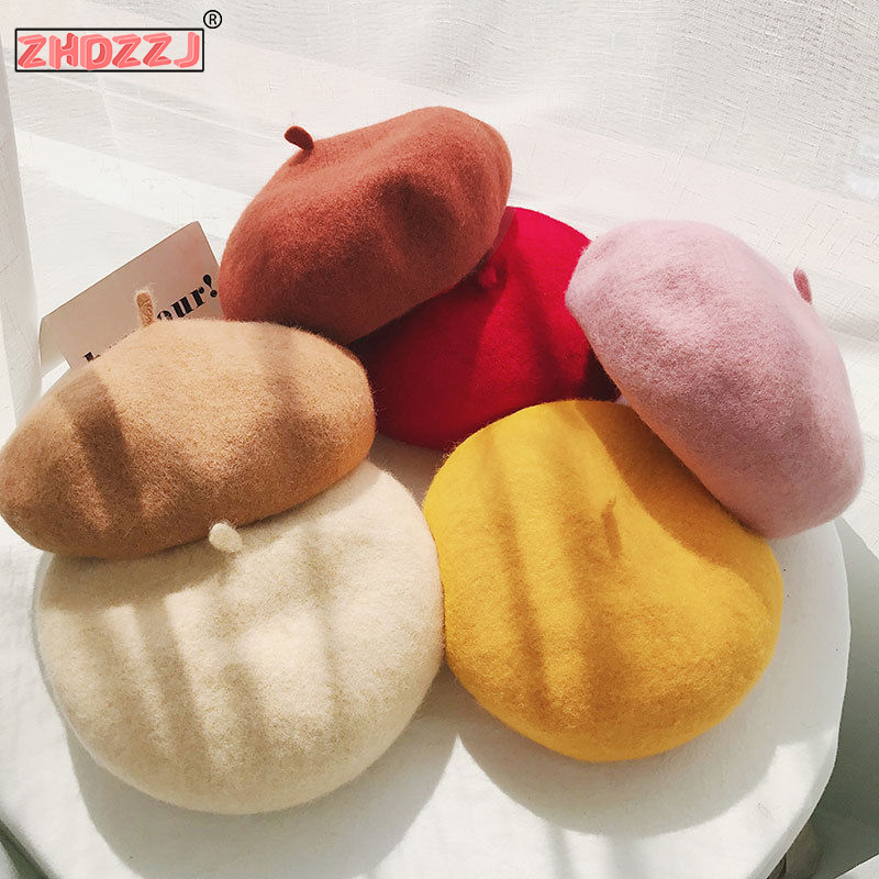 Wool Beret Women Winter Hats For Women Flat Cap Knitted 100% Cashmere Hats Lady Girl Berets Hat Woman Bone Touches Painter Hat