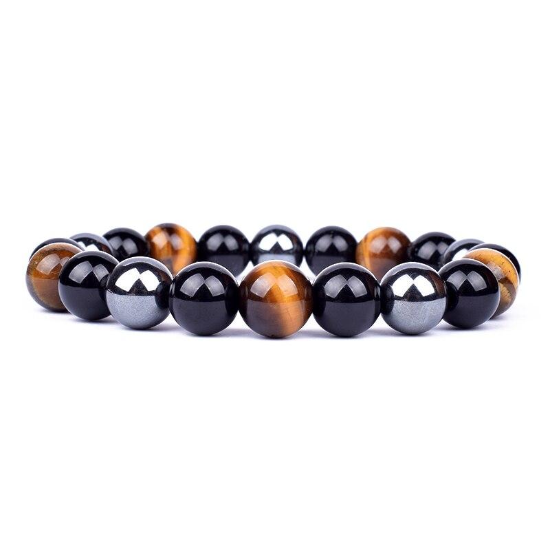 Fashion 10mm Tiger Eye Bracelets Men Hematite Energy Balance Bracelet Obsidian Health Care Jewelry for Women Gift Pulsera Hombre