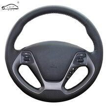 جلد طبيعي عجلة توجيه سيارة غطاء Kia K3 2013 K2 ريو 2015 2016 Ceed Cee d 2012 2017 سيراتو 2013 2017