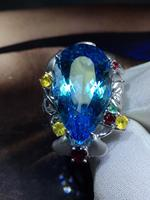 Fine Jewelry Real 18K White Gold AU750 100% Natural Blue Topaz Gemstone 39ct Female Rings for Women Fine Ring