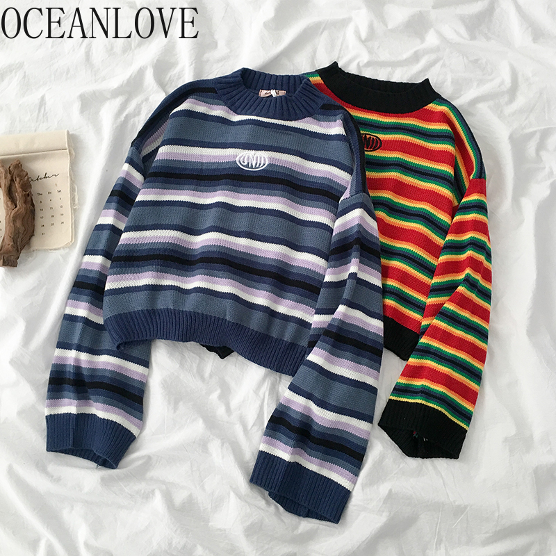 OCEANLOVE 2020 Autumn Winter Sweaters Women All Match Striped Rainbow Student Pullovers Korean Sueter Mujer Fashion 13314