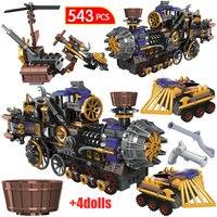 543 Pcs Stad De Leeftijd Van Stoom Treinen Bouwstenen Schepper Militaire Chariot Auto Diy Cijfers Bricks Speelgoed Voor Kinderen