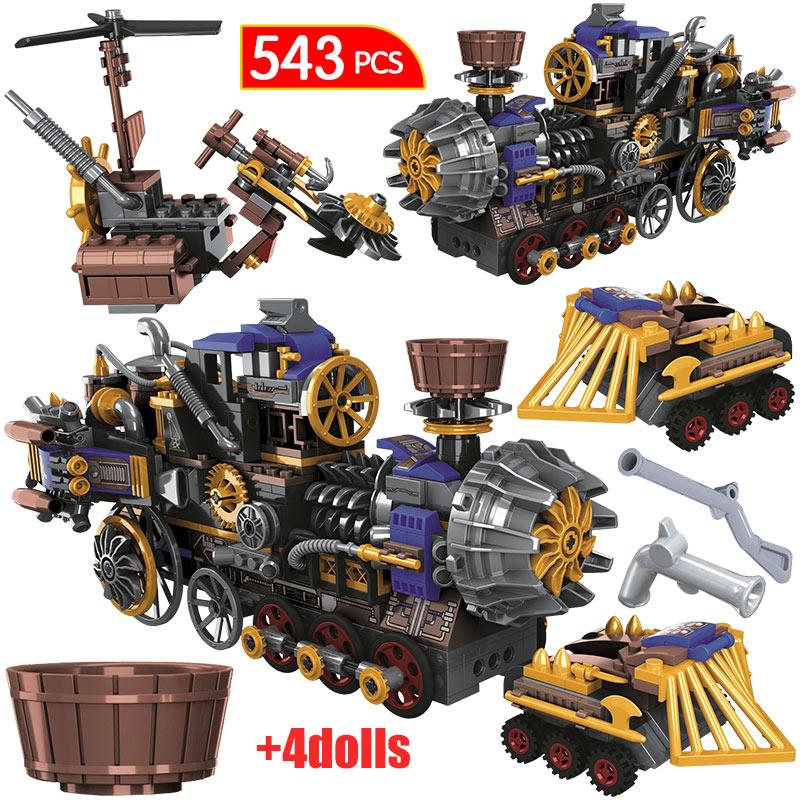 543 pcs cidade a idade dos trens a vapor blocos de construcao criador militar carro carro