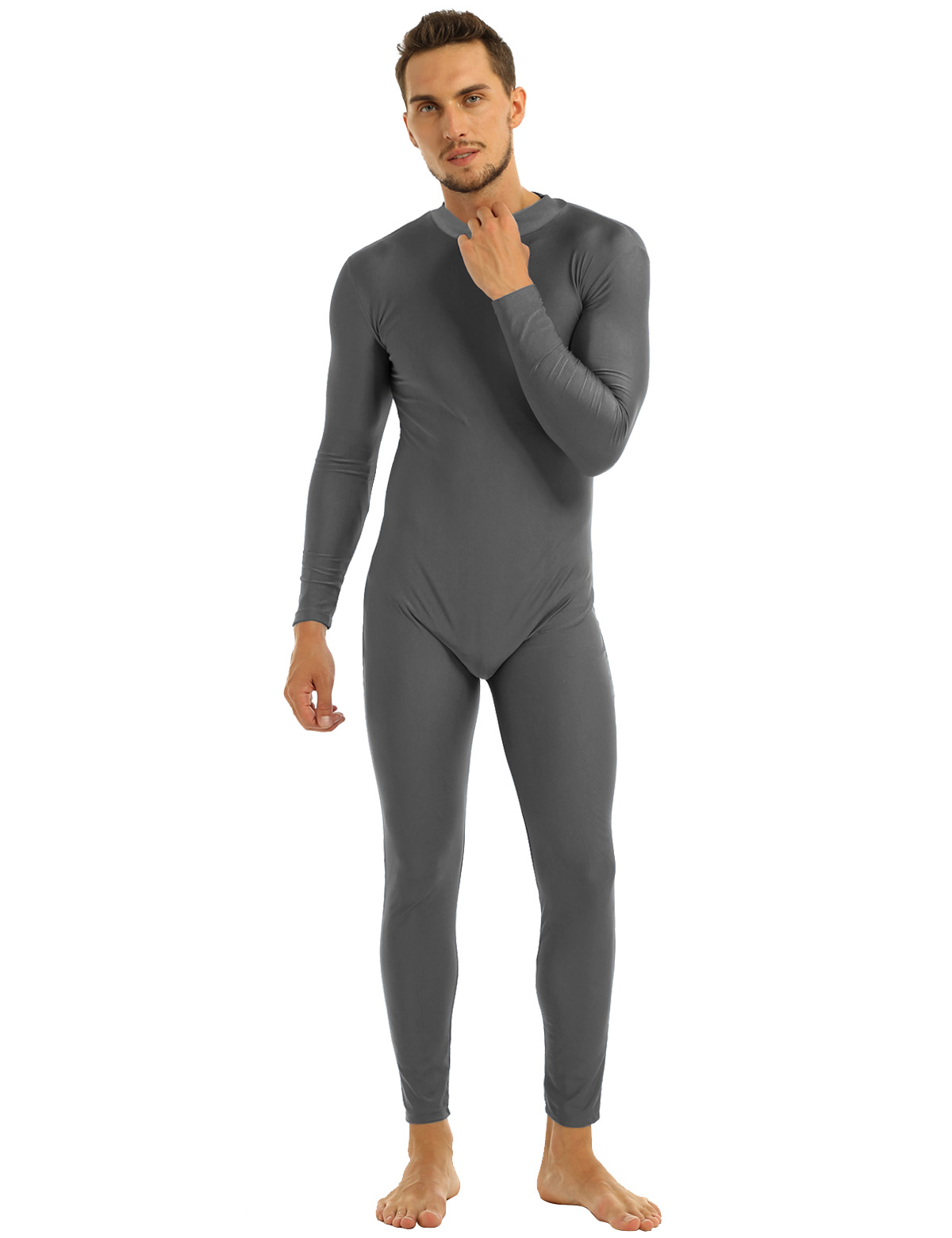 Mens Well Fit One Piece Leotards Long Sleeves Skinny Full-body Catsuit Adult Lycra Dancewear Bodysuit Gymnastics Workout Unitard 31