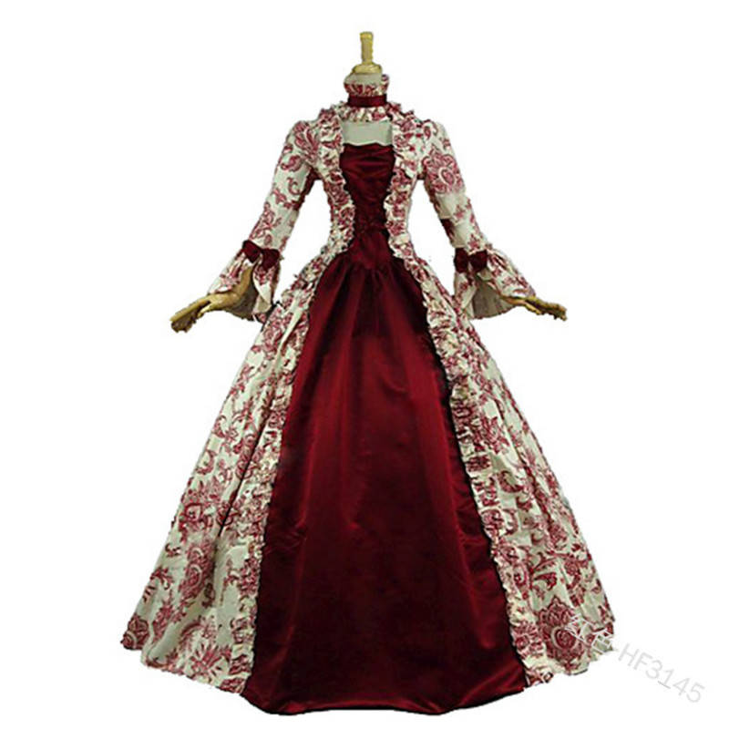Cosplay Medieval Renaissance Gown Robe Palace Princess Dress Adults Vintage Evening Gown Lace Long Sexy Party Halloween Costume