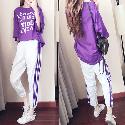 2019 Spring And Summer New Style Sports Clothing WOMEN'S Suit Large Size Loose-Fit Korean-style Fashion Fashion Students Casual