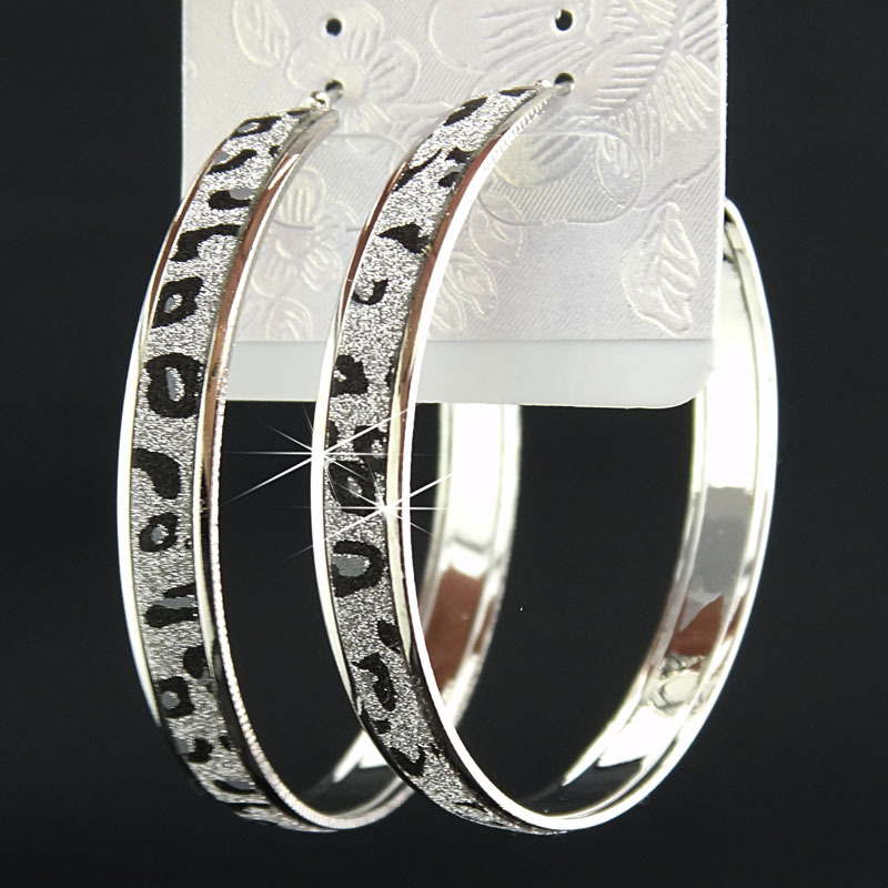 Лидер продаж, модные женские серьги-кольца с принтом зебры из матового серебра, большие вечерние ювелирные изделия, женские серьги в подарок - Окраска металла: leopard printed