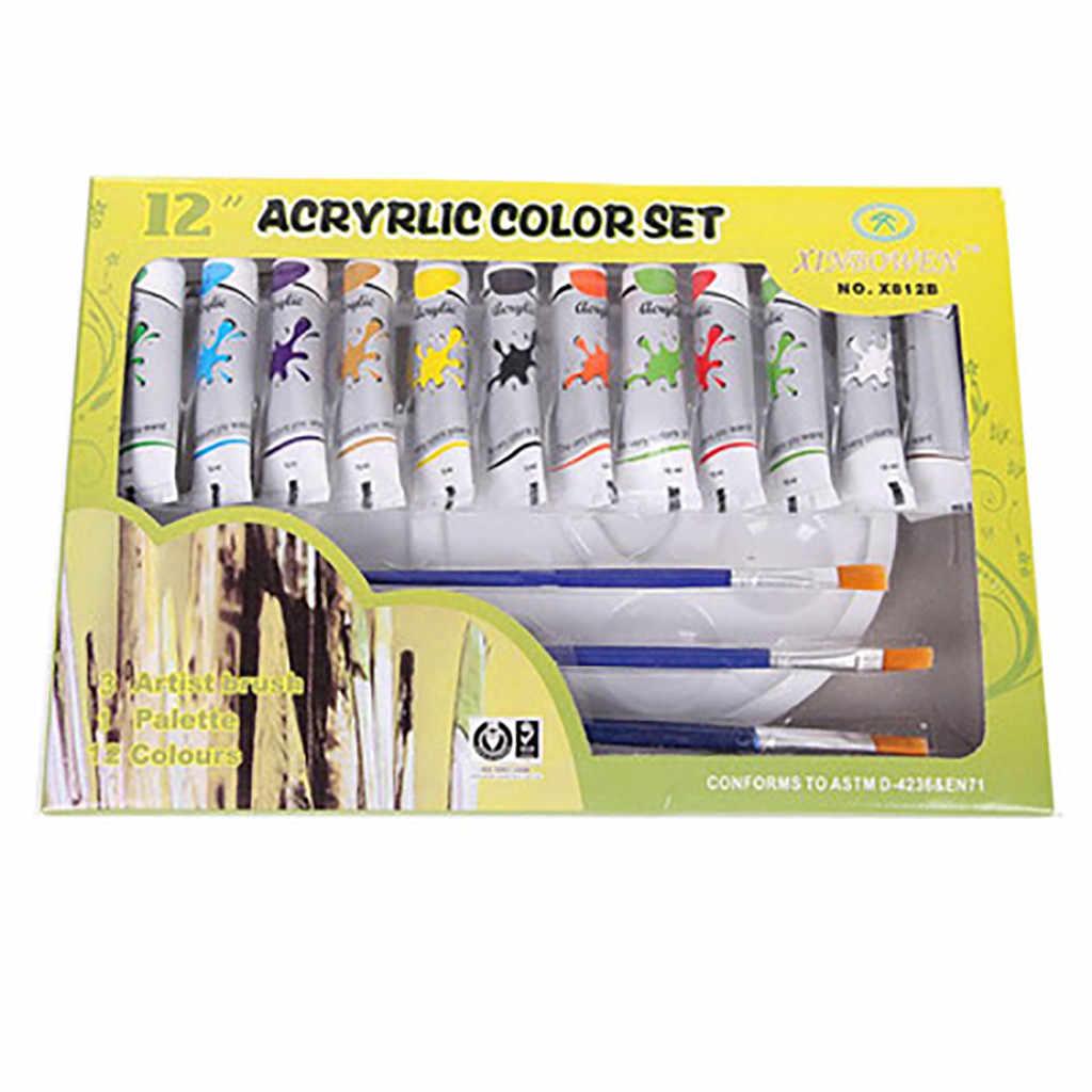 12 kolorów profesjonalne farby akrylowe zestaw ręcznie malowane ściany Student materiały do malowania dostaw sztuki zestaw z palety pędzla # g4