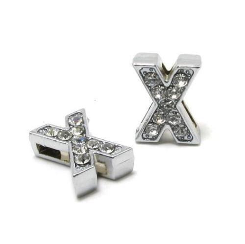 A-Z, 8 мм, стразы, кулон, буквы, подходят для DIY, подарок, шарм, кожаный браслет, браслет, пояс, ожерелье, ювелирные аксессуары - Окраска металла: X
