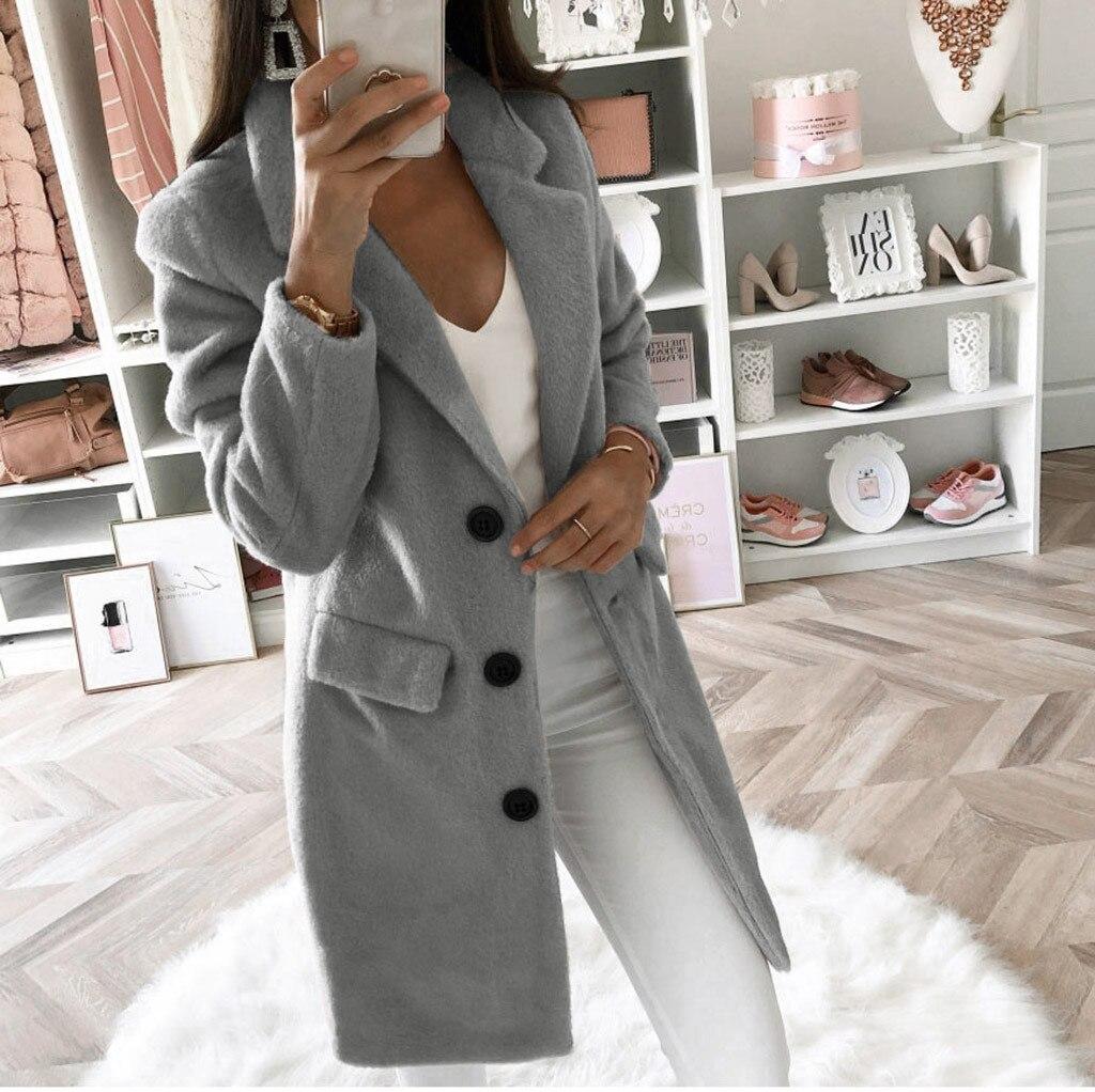 Women Wool Outwear Winter Woollen Coat Long Sleeve Turn-down Collar Blends Jacket Elegant Lady Overcoats Plus Size 5xl#J30