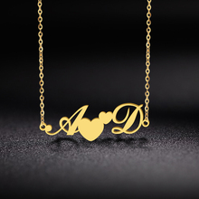 Letter Necklace Charms Choker Custom Initial Pendant Jewelry Nameplate Gift Stainless-Steel