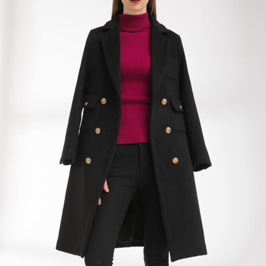 autumn winter fashion double breasted woolen coat