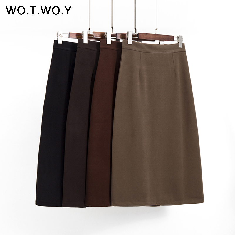 WOTWOY Spring Summenr Knitted Skirts Women 2020 Office Lady Zipper Mid-Calf Lenght Female Pencil Skirts Elegant  Skirts Femme
