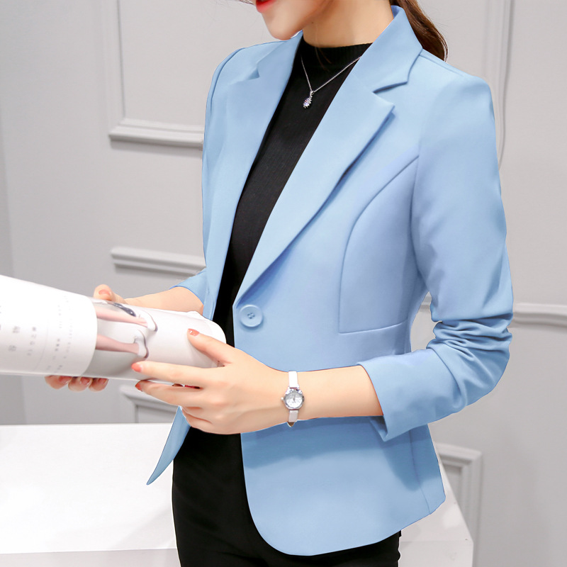 New Fashion Women Solid Slim Blazers Fashion 2019 Autumn Fashion Single Button Blazer Ladies Blazers 7479