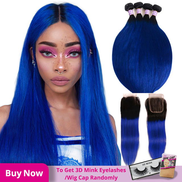 Alimice Ombre สีฟ้าตรงมนุษย์ผมสาน 3/4 ชุดพร้อมฝาปิด T1b/สีฟ้า Remy Hair Hair Ombre กับปิด