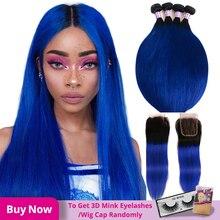 Alimice ombre azul brasileiro em linha reta tecer cabelo humano 3/4 pacotes com fechamento t1b/azul remy cabelo ombre pacotes com fechamento