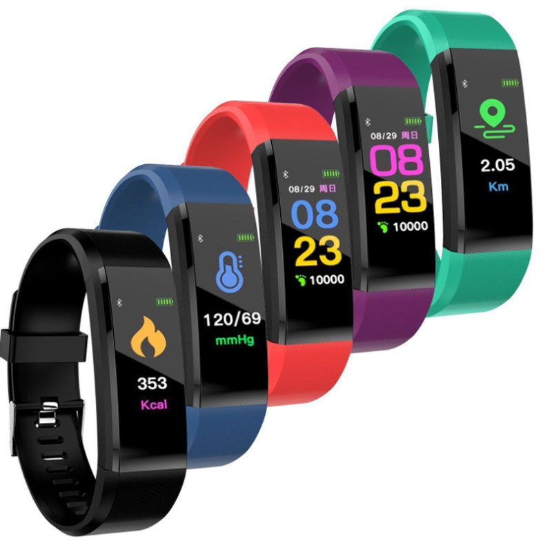 115 Plus Smart Band Wristbands Fitness Tracker Health Heart Rate Blood Pressure Bluetooth Sports Bracelet Smart Band Watch
