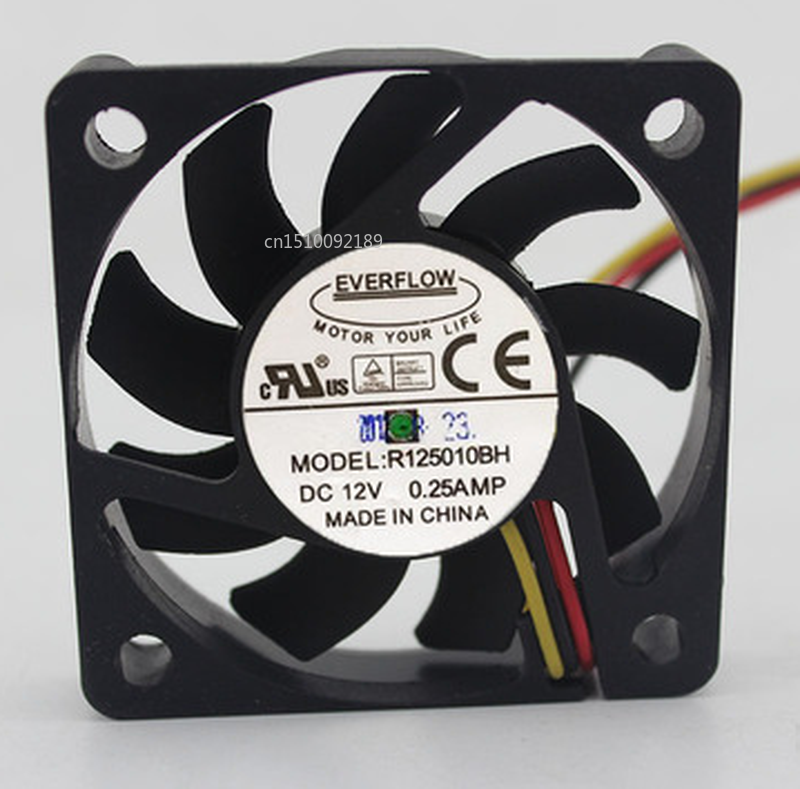 Free Shipping For EVERFLOW R125010BH DC 12V 0.25A 3-wire 50x50x10mm Server Cooler Fan