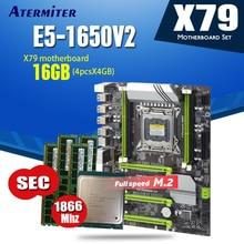 X79 Turbo motherboard LGA2011 ATX combos E5 1650 V2 4 stücke x 4GB 16GB 1866Mhz PC3 14900R PCI E NVME M.2 SSD USB 3,0 SATA3