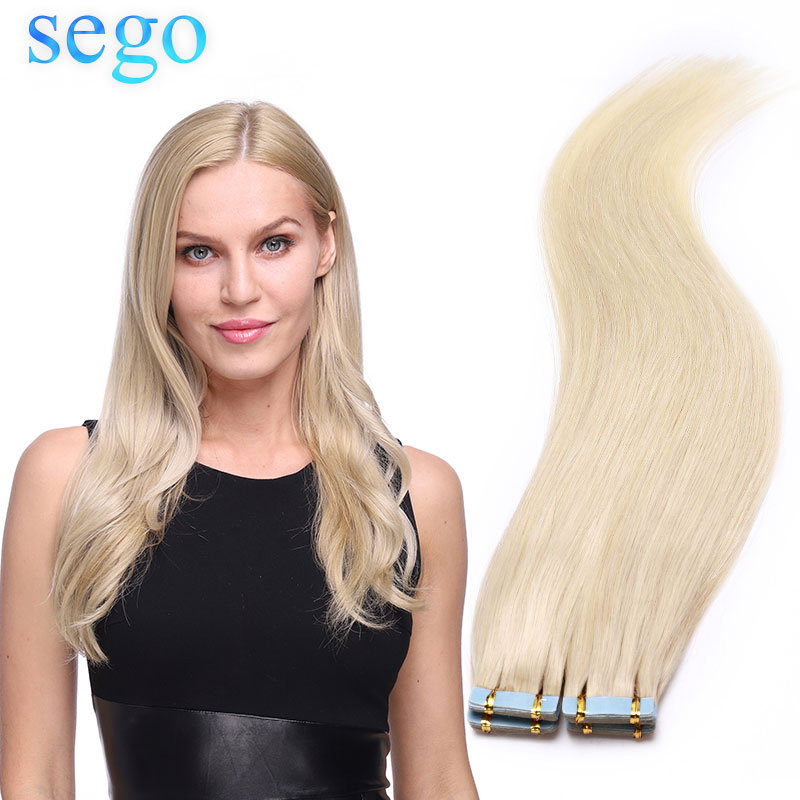 SEGO 2.5g/pc 20pcs 40pcs Tape In Human Hair Extensions Adhesive Seamless Skin Weft Double Drawn US Tape Non-Remy Natural Hair