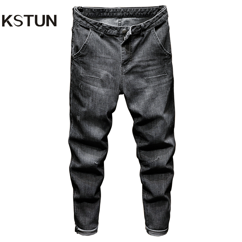 KSTUN Relaxed Tapered Jeans Men Black Gray Jeans Loose Fit Through The Hips And Thighs But Tapers To A Slim Jean Near The Ankles