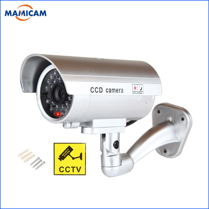 1pcs Dummy Camera Bullet Waterproof Outdoor Indoor Security Surveillance Camera With Flashing Red LED Simulation Camera