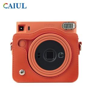 Image 2 - FUJIFILM Instax مربع SQ1 حقيبة كاميرا 4 ألوان خمر بو الجلود حقيبة الكتف حزام الحقيبة تحمل غطاء حماية