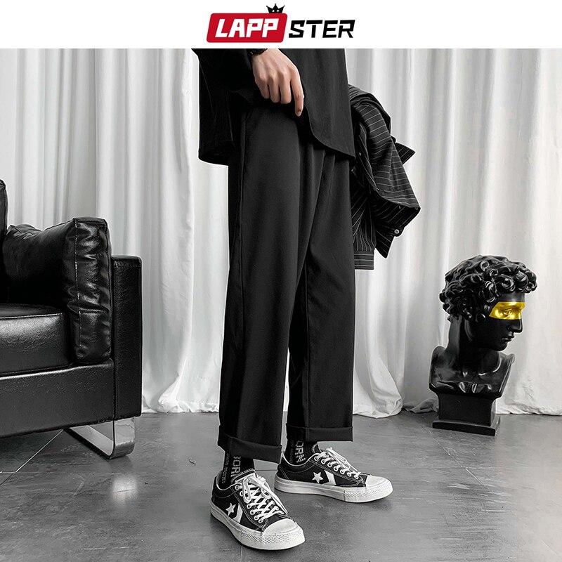 LAPPSTER Mens Black Korean Harem Pants 2020 Japanese Streetwear Joggers Harajuku Sweatpants Hip Hop Casual Trousers Plus Size