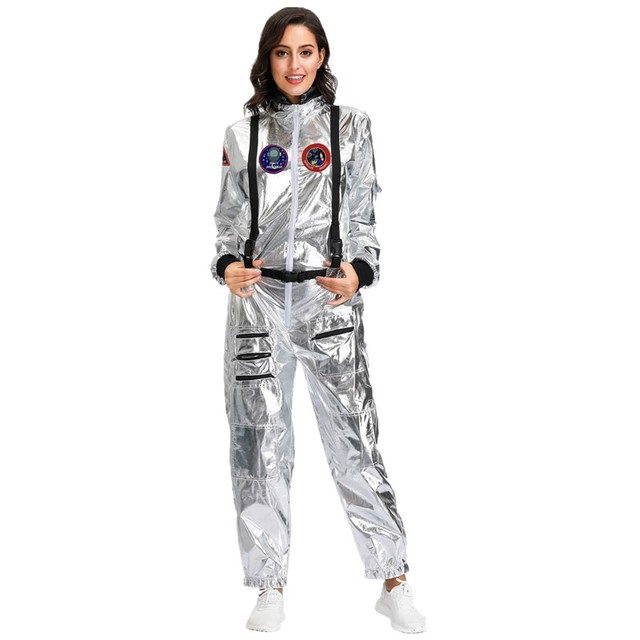 Halloween Silver Pilot Astronaut Alien Spaceman Cosplay Costume Carnival Party Couple One Piece Jumpsuit