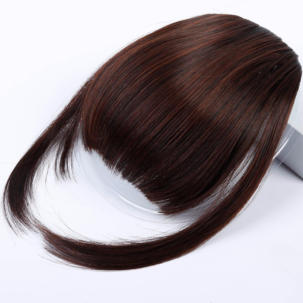 WTB Black Brown Blonde Fake Fringe Clip In Hair Extensions With Bangs High Temperature Synthetic Clip On Bangs Blunt HairPieces