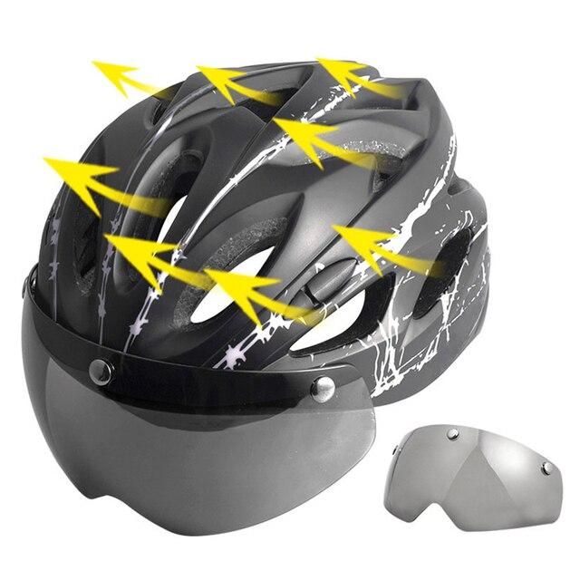 2019nova preto óculos de proteção capacete da bicicleta padrão ultraleve capacete equitação montanha estrada integralmente moldado ciclismo capacetes 5