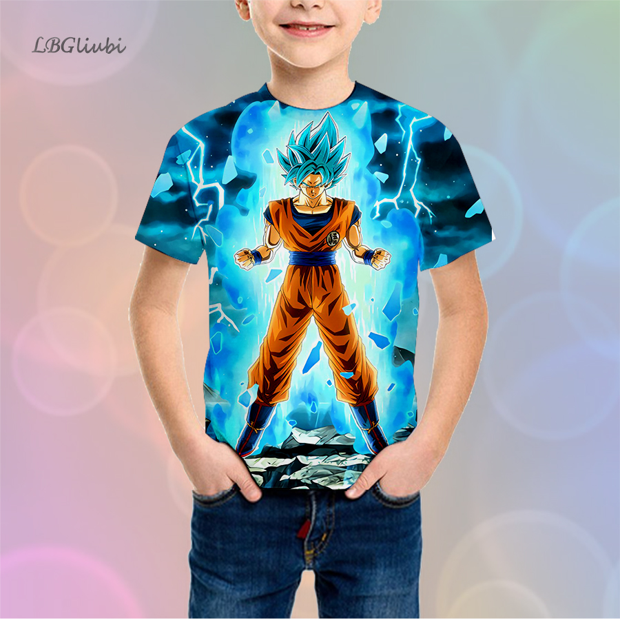 LBG New Dragon Ball Cartoon Childrens T-Shirt 3D Print Juvenile Fashion Youth Short Sleeve