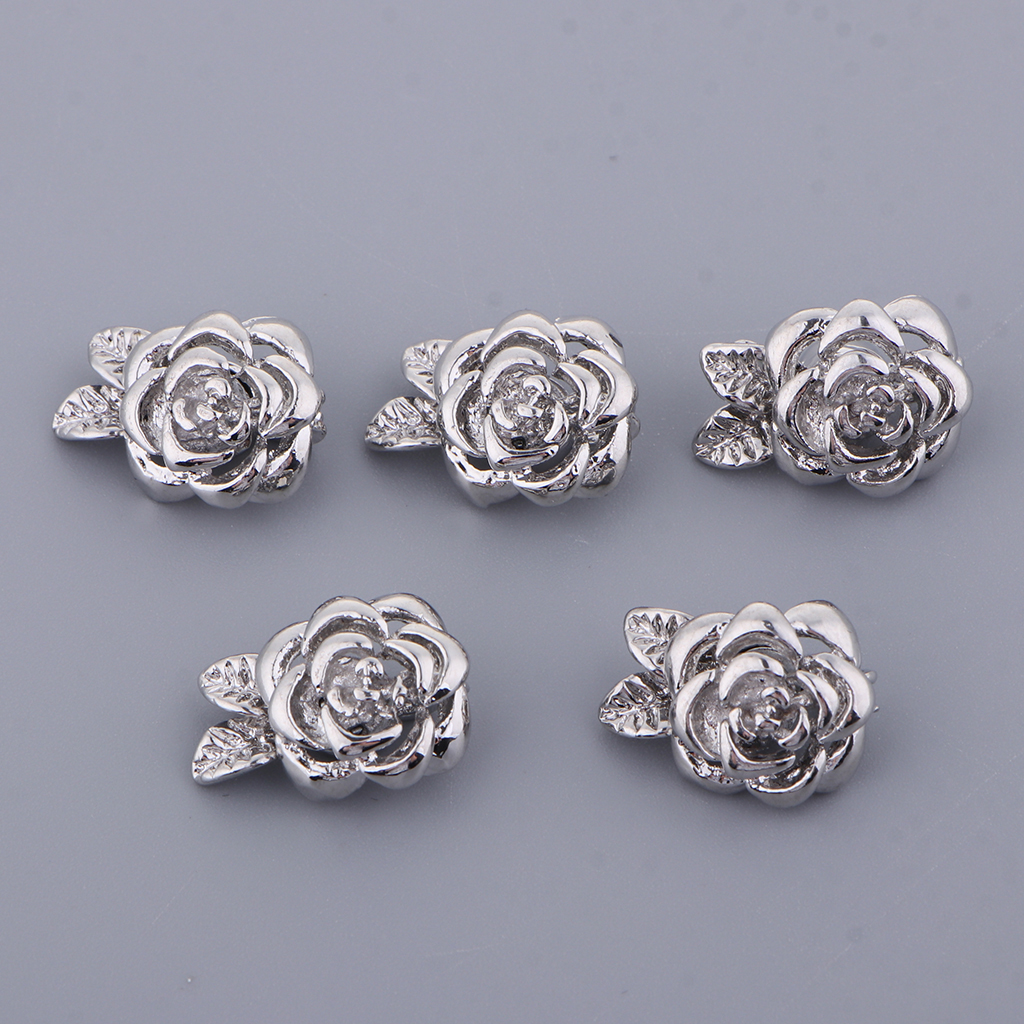 5 Pack Flower Jewelry Round Chain Closure Magnet Clasp Decoration For Chains, Bracelets, Necklaces