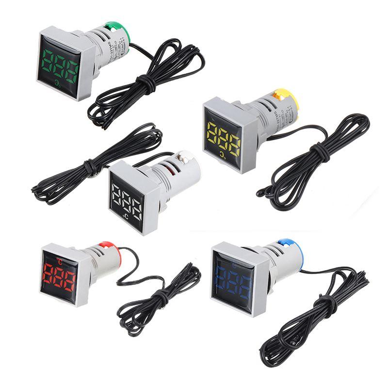 Mini Crystal Film Square LED Digital Thermometer Signal Light AC 50-380V 220V Temperature Meter Indicator -20-200 1m Sensor