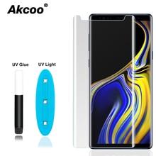 Akcoo nota 9 protetor de tela com cola uv líquido nano para samsung galaxy s8 s9 plus s7 s6 borda nota 8 cola completa protetor de vidro