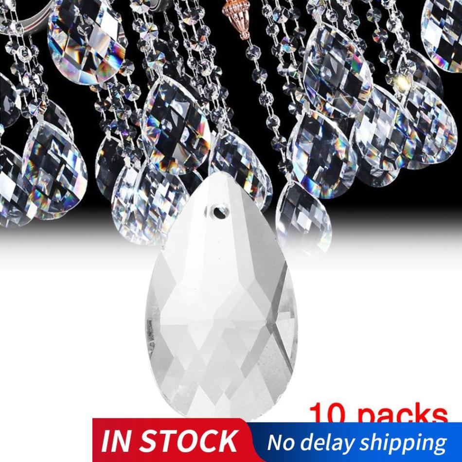 10Pcs/Pack Clear Art Glass Drops Chandelier Pendant Light Lamp Part Hanging Prisms DIY Accessories Crystal Pendant Parts