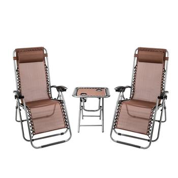 2 sztuk składany zerowej grawitacji leżak fotel wypoczynkowy brązowy biuro przerwa obiadowa krzesło na zewnątrz z termos uchwyt tabeli tanie i dobre opinie Nowoczesne Meble do salonu 69 69*25 59*44 49inch 50142809 Minimalistyczny nowoczesny Szezlong Meble do domu Tkaniny 37 5*26*5 2 inch